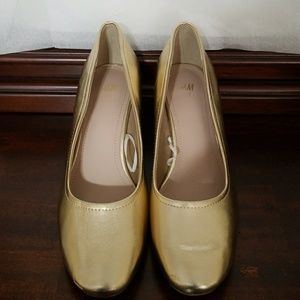 Gold color shoes by H&M